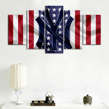 Load image into Gallery viewer, New York Yankees American Flag Canvas 5 Pieces Wall Painting Canvas