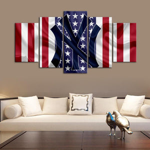 New York Yankees American Flag Wall Canvas