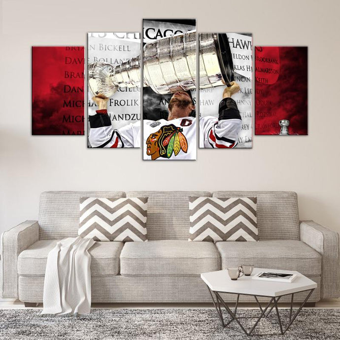 Stanley Cup Champions Chicago Blackhawks 5 Pieces Wall Art Painting Canvas