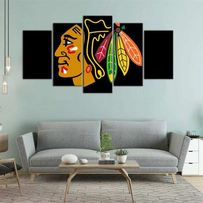 Chicago Blackhawks Sign Logo 5 Pieces Wall Art Painting Canvas