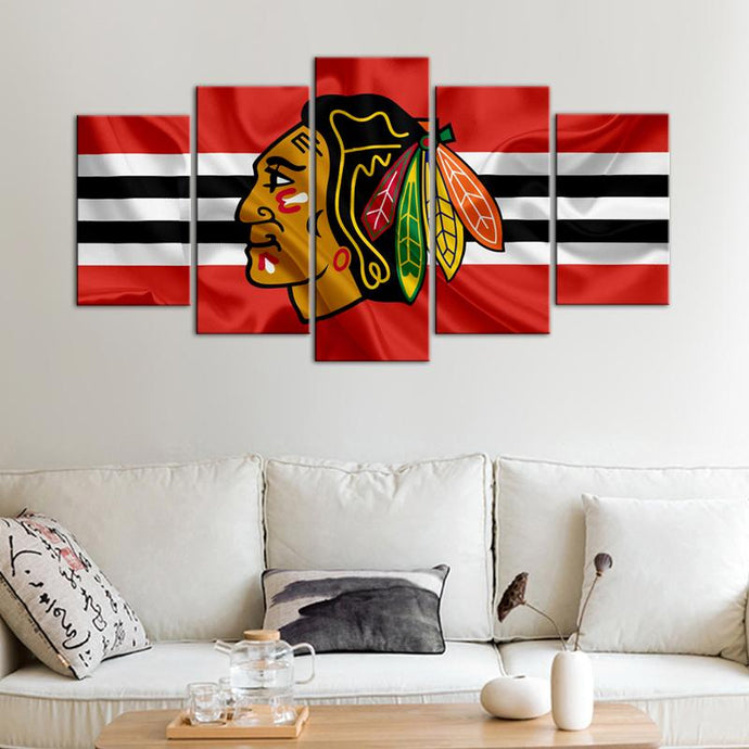 Chicago Blackhawks Fabric Look 5 Pieces Wall Art Painting Canvas