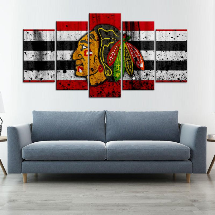 Chicago Blackhawks Rough Look 5 Pieces Wall Art Painting Canvas