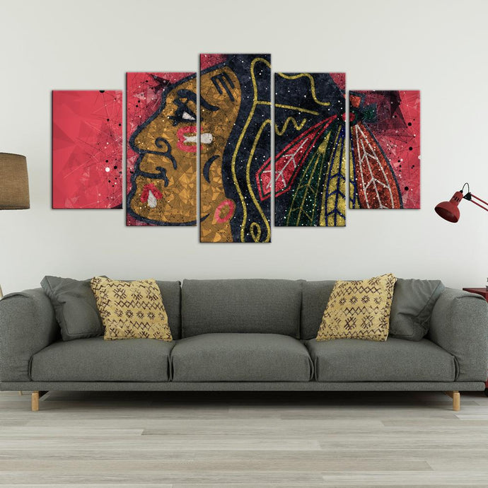 Chicago Blackhawks Techy Look 5 Pieces Wall Art Painting Canvas