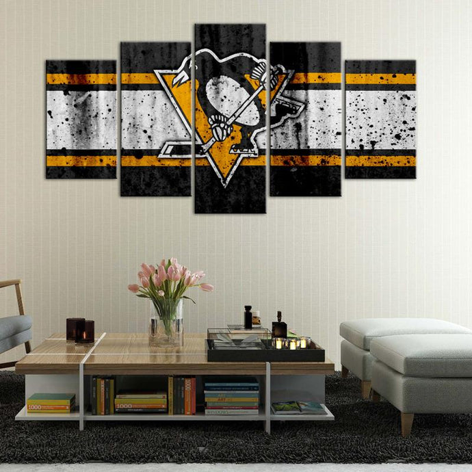 Pittsburgh Penguins Rough Look 5 Pieces Painting Canvas