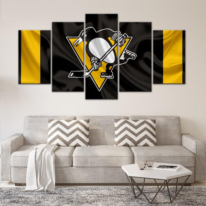 Pittsburgh Penguins Fabric Look 5 Pieces Painting Canvas