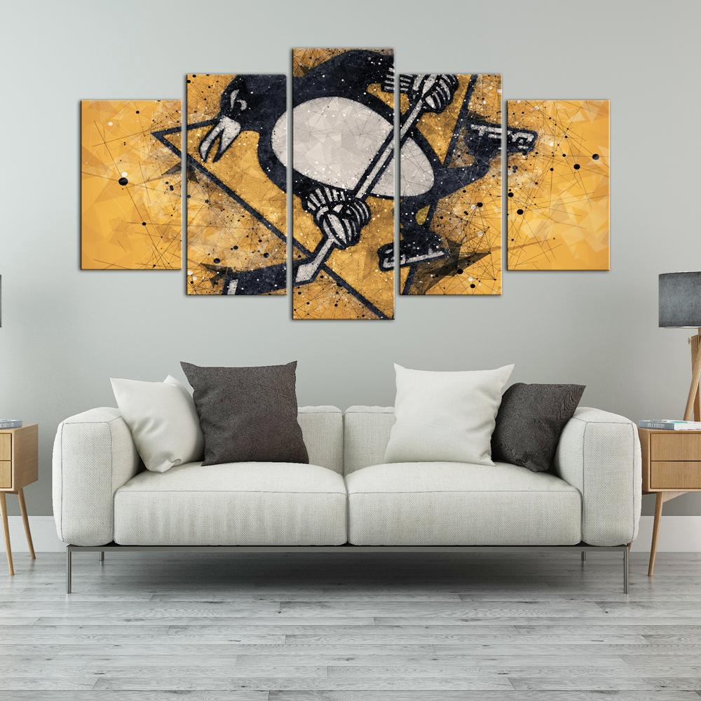 Pittsburgh Penguins Techy Look 5 Pieces Painting Canvas