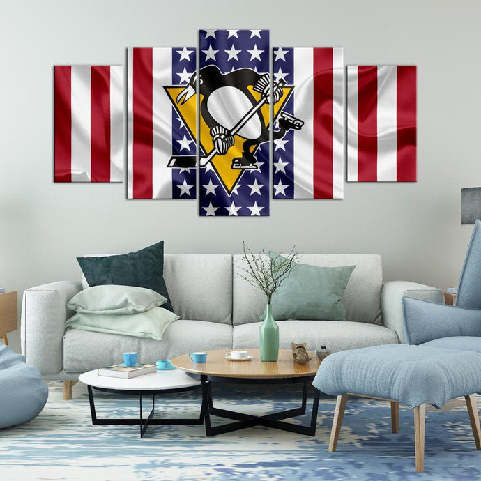 Pittsburgh Penguins American Flag 5 Pieces Painting Canvas