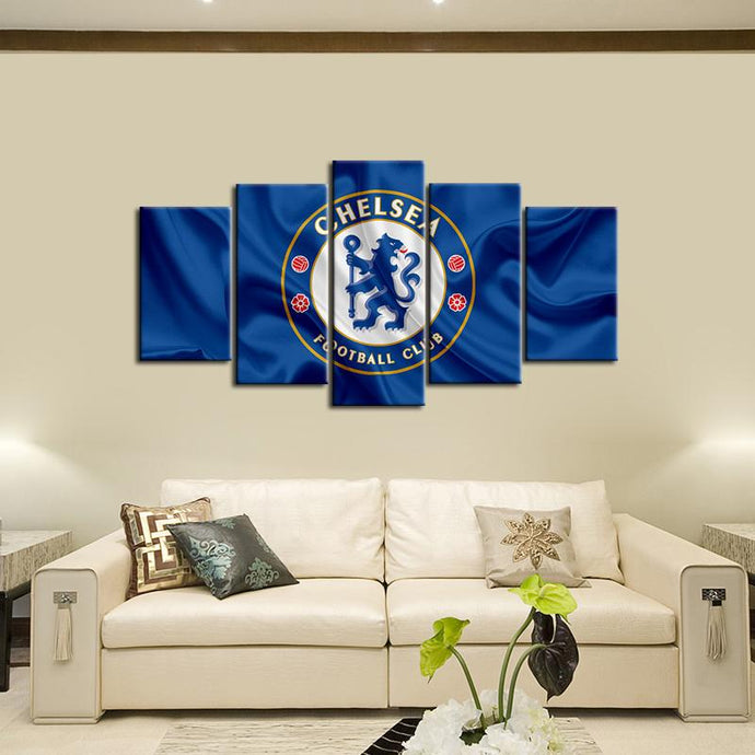 Chelsea F.C. Fabric Look  5 Pieces Wall Painting Canvas