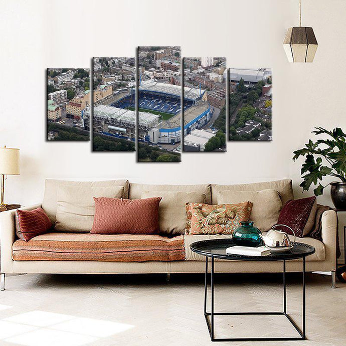 Chelsea F.C. Stadium Areal View  5 Pieces Wall Painting Canvas