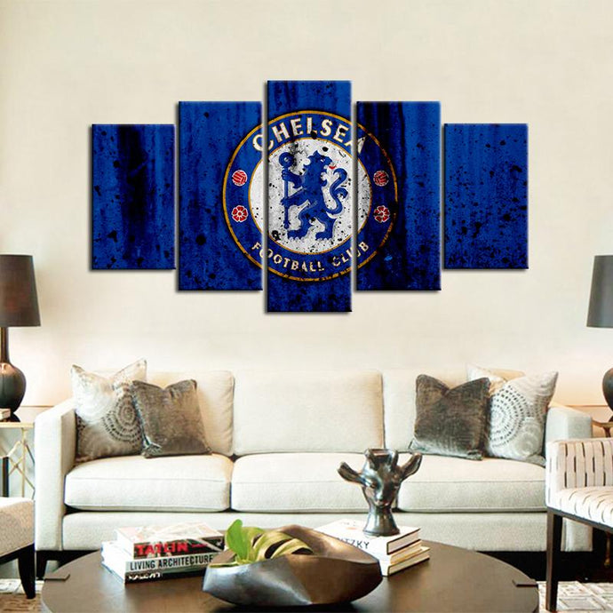Chelsea F.C. Rough Look 5 Pieces Wall Painting Canvas