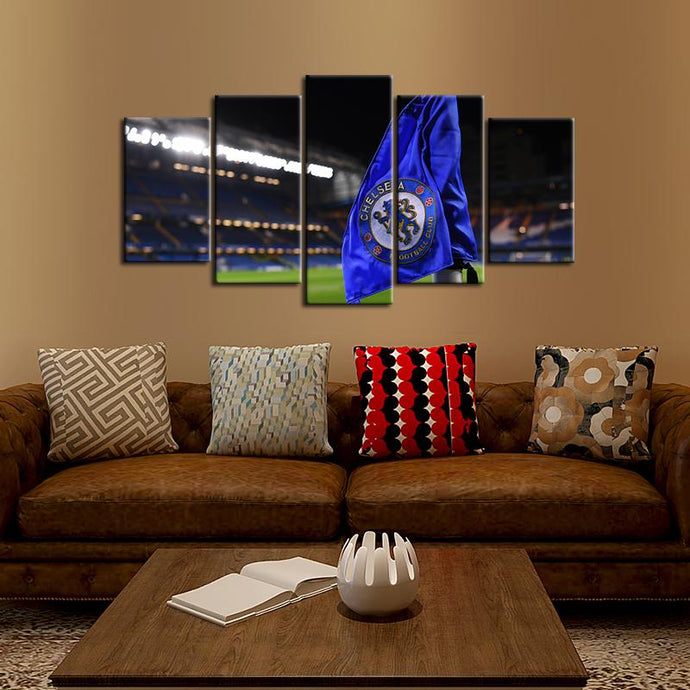 Chelsea F.C. Small Flag 5 Pieces Wall Painting Canvas