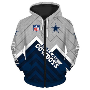 Dallas Cowboys 3D Zipper Hoodie