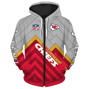 Kansas City Chiefs 3D Zipper Hoodie