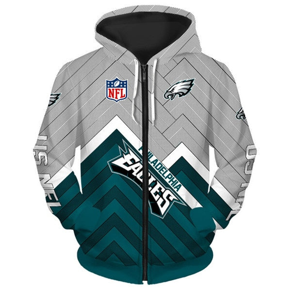 Philadelphia Eagles 3D Zipper Hoodie
