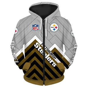 Pittsburgh Steelers 3D Zipper Hoodie