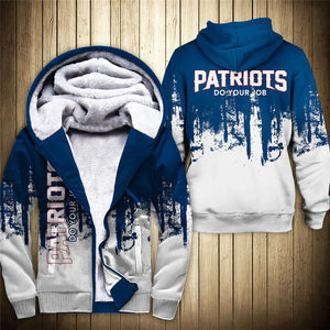 New England Patriots 3D Thick Zipper Hoodie