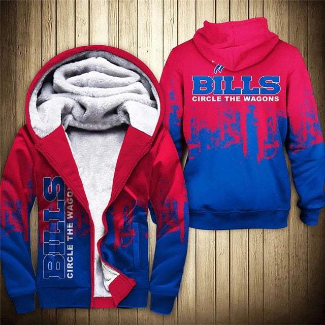 Buffalo Bills 3D Thick Zipper Hoodie
