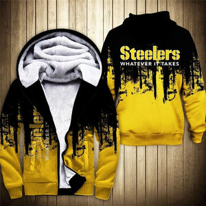 Pittsburgh Steelers 3D Thick Zipper Hoodie