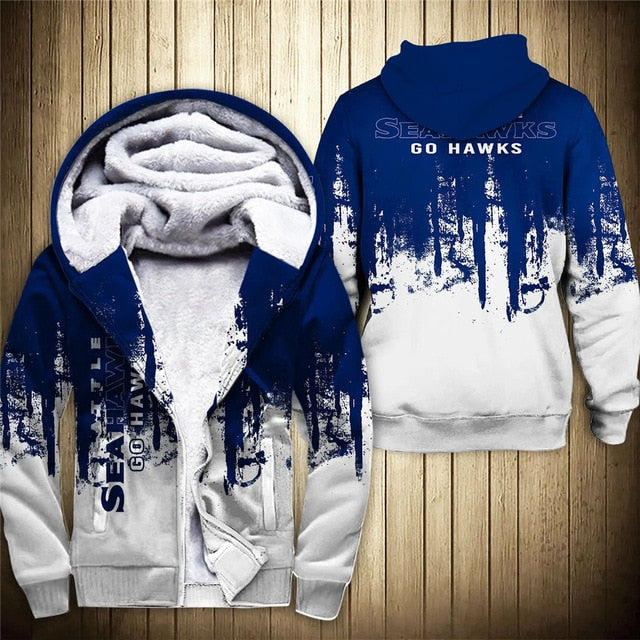 Seattle Seahawks 3D Thick Zipper Hoodie
