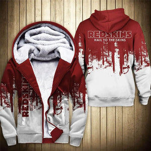 Washington Redskins 3D Thick Zipper Hoodie