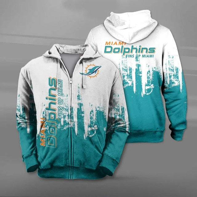 Miami Dolphins 3D Zipper Hoodie