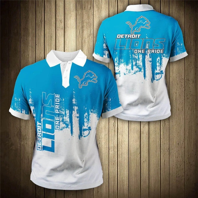 Detroit Lions 3D Polo Shirt