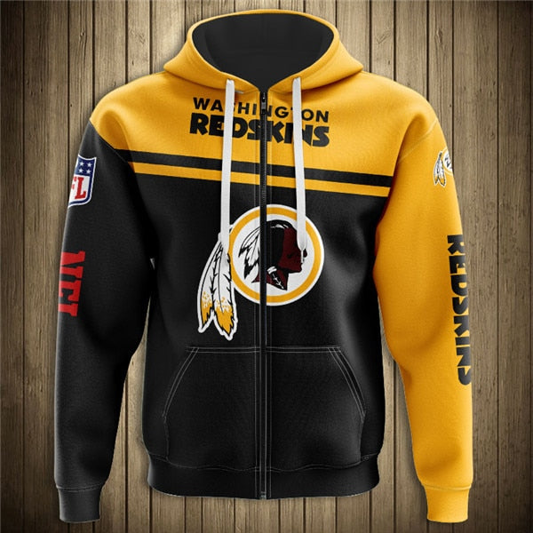 Washington Redskins 3D Zipper Hoodie