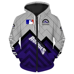Colorado Rockies 3D Zipper Hoodie
