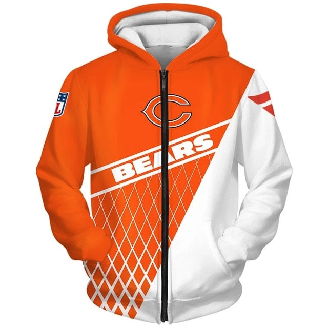Chicago Bears 3D Zipper Hoodie