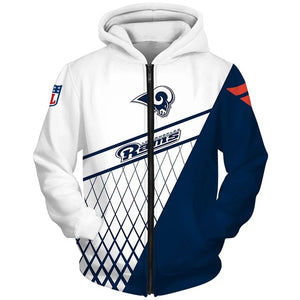 Los Angeles Rams 3D Zipper Hoodie