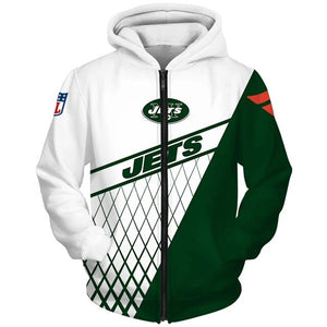 New York Jets 3D Zipper Hoodie