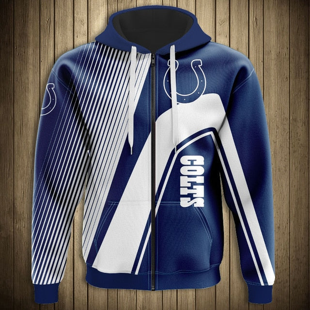 Indianapolis Colts Casual 3D Zipper Hoodie