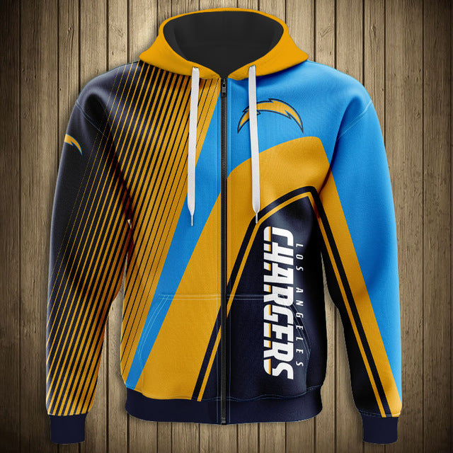 Los Angeles Chargers Casual 3D Zipper Hoodie