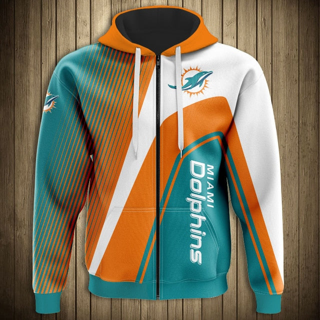 Miami Dolphins Casual 3D Zipper Hoodie