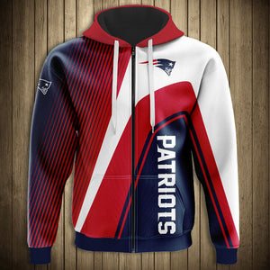 New England Patriots Casual 3D Zipper Hoodie