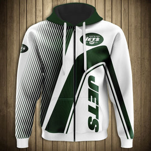 New York Jets Casual 3D Zipper Hoodie