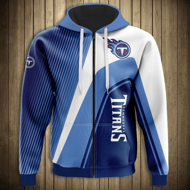 Tennessee Titans Casual 3D Zipper Hoodie