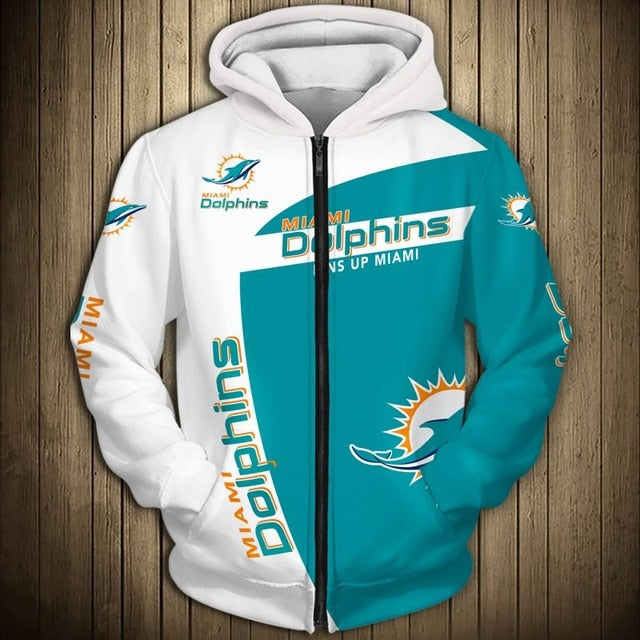 Miami Dolphins Casual Zipper Hoodie