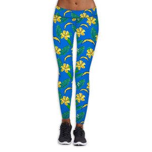 Los Angeles Chargers Flower Print Leggings