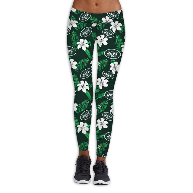 New York Jets Flower Print Leggings