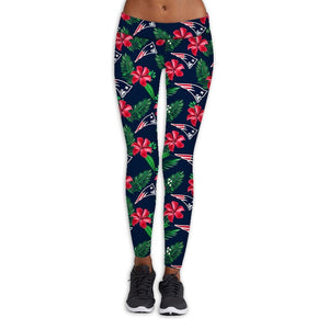 New England Patriots Flower Print Leggings