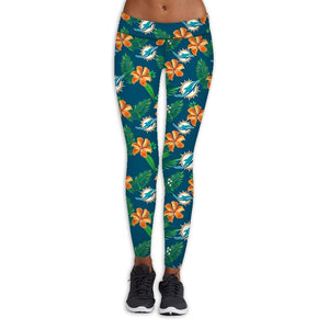 Miami Dolphins Flower Print Leggings