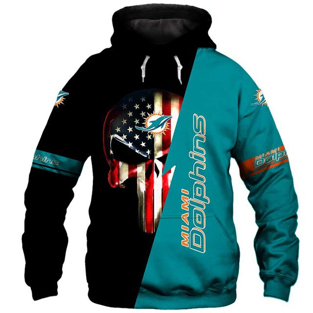 Miami Dolphins 3D Skull Hoodie