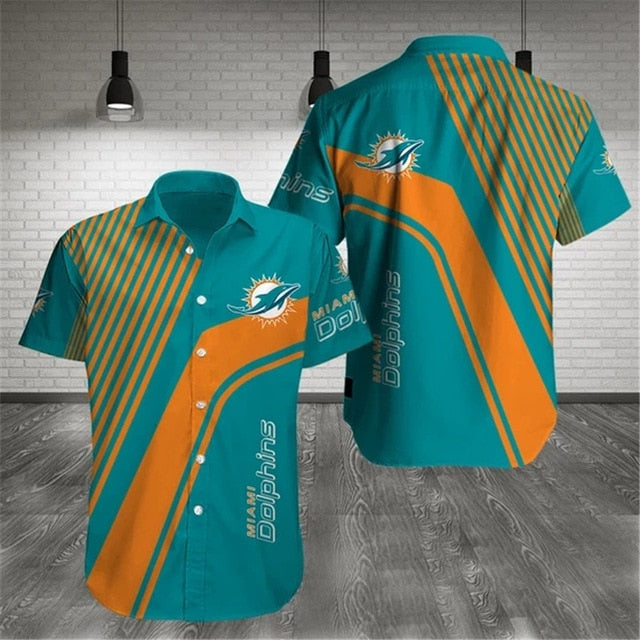 Miami Dolphins Stripes Casual Shirt