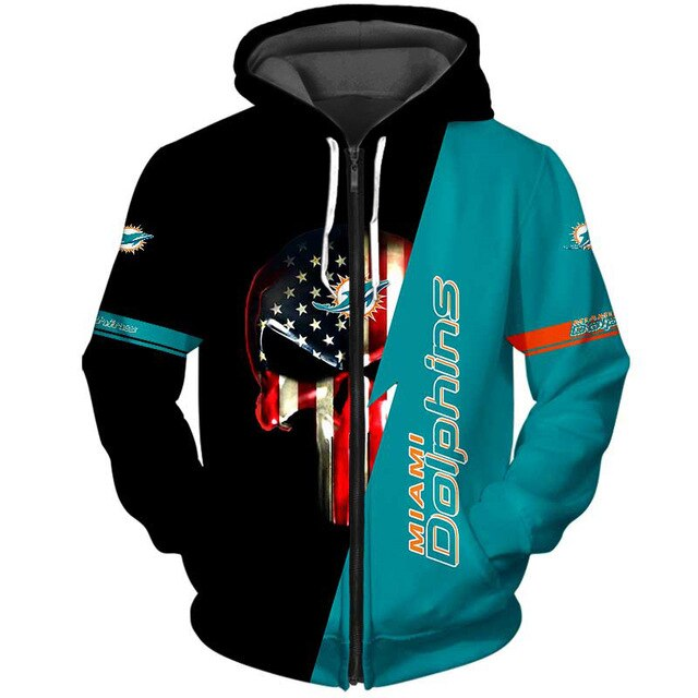 Miami Dolphins 3D Skull Zipper Hoodie