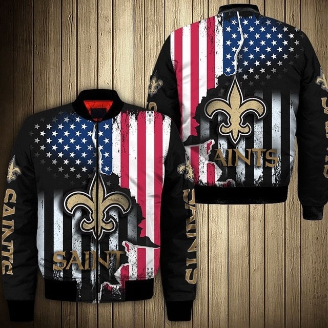 New Orleans Saints American Flag Thick Jacket
