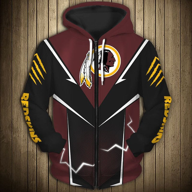 Washington Football Team Flame Zipper Hoodie