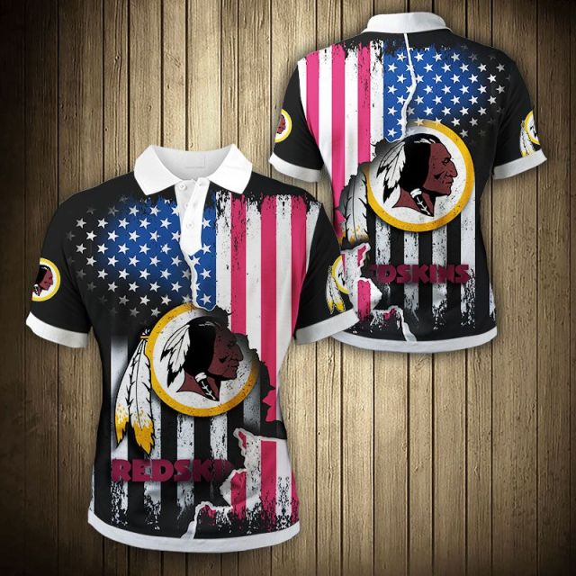 Washington Football Team American Flag Polo Shirt