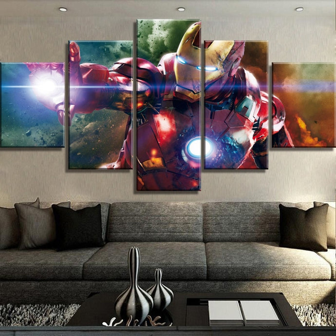 Iron Man In Action Wall Art Canvas