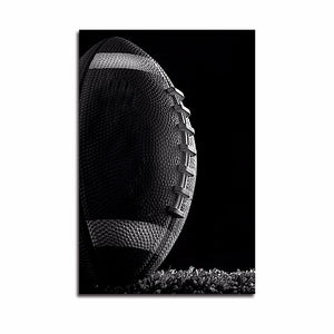 Football Black White Canvas Art Print Painting